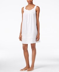 Eileen West Lace Trimmed Cotton Lawn Nightgown White