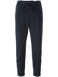 Eleventy Tapered Cropped Trousers Blue