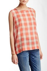 Sandra Ingrish Split Back Check Blouse Orange