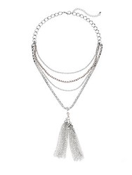 Punch Multi Strand Chain Tassel Necklace Silver