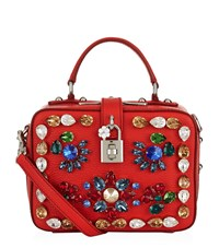 Dolce And Gabbana Top Handle Dauphine Embellished Tote Female Red