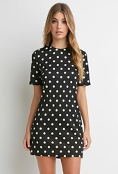 Forever 21 Textured Polka Dot Dress Black Cream