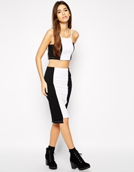 Daisy Street Mono Panel Pencil Skirt Blackwhite