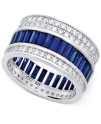 Crislu Platinum Over Sterling Silver Cubic Zirconia Baguette And Round Ring