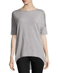 Neiman Marcus Lace Back Half Sleeve Tunic Gray