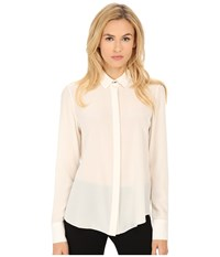 Prabal Gurung Crepe De Chine Silk Long Sleeve Top Ivory Women's Long Sleeve Button Up White