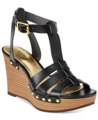 American Living Abaline Platform Wedge Sandals Black