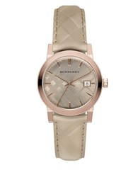 Burberry Rose Goldtone Quartz Stainless Steel Watch Tan