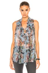 Zimmermann Winsome Ruffle Top In Blue Floral Blue Floral