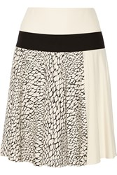 Bouchra Jarrar Color Block Printed Crepe And Twill Skirt White