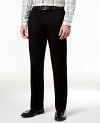 Haggar Men's Premium Straight Fit Non Iron Stretch Flat Front Pants Black