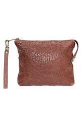 Will Leather Goods 'Opal' Large Grain Leather Wristlet Brown Cognac