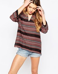 Only Printed Tunic Top Black