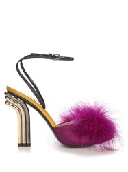 Marco De Vincenzo Feather Embellished Mid Heel Sandals Dark Pink