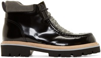 Msgm Black Leather And Wool Boots