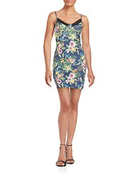 Romeo And Juliet Couture Floral Print Cutout Mini Dress Navy