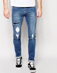 Dr. Denim Dr Denim Snap Skinny Jeans Ripped Mid Wash Blue Mid Wash Blue