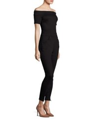 3X1 Cotton Off The Shoulder Jumpsuit Black