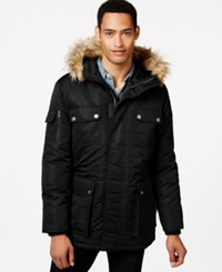 Sean John Faux Fur Hooded Coat Black