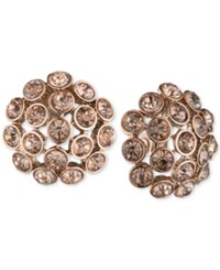 Anne Klein Rose Gold Tone Brown Crystal Cluster Clip On Earrings