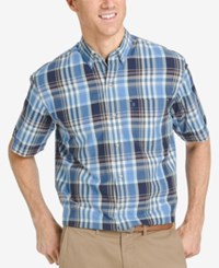 Izod Men's Plaid Short Sleeve Shirt Vanilla Ice Ochre