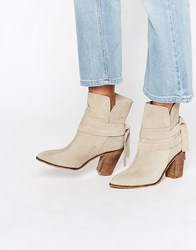Asos Elishia Suede Slouch Ankle Boots Sand Suede Beige