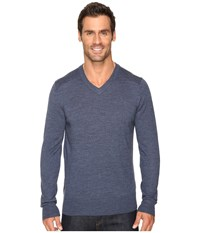 Smartwool Kiva Ridge V Neck Sweater Dark Blue Steel Heather Men's Long Sleeve Pullover