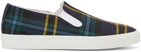 Comme Des Garcons Navy Wool Tartan Slip On Sneakers