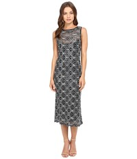 Rsvp Kait Sequin Lace Midi Black Silver Women's Dress