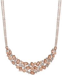 Kaleidoscope Pink Swarovski Crystal Mosaic Frontal Necklace In 18K Rose Gold Over Sterling Silver