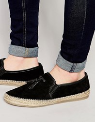 Asos Tassel Loafers In Black Suede With Jute Wrap Sole Black