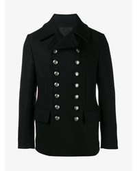 Dolce And Gabbana Double Breasted Wool Blend Pea Coat Navy Silver White