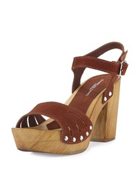 Charles David Coco Suede Wood Heel Sandal Tobacco Black