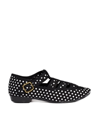 F Troupe Takako Black Polka Dot Flat Shoes