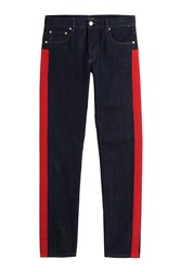 Alexander Mcqueen Straight Leg Jeans With Racing Stripes Blue