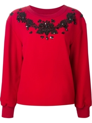 Dolce And Gabbana Embellished Sweatshirt Red