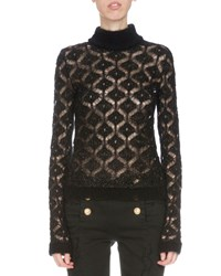 Balmain Long Sleeve Diamond Pattern Sweater Black Gold Women's Black Gold