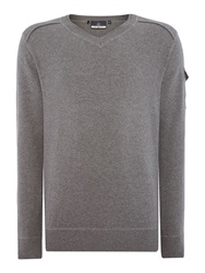 Duck And Cover Ripon 2 V Neck Knitwear Mid Grey Marl