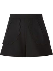 Red Valentino Scalloped Trim Shorts Black
