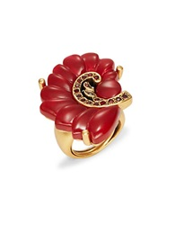 Oscar De La Renta Swirl Cocktail Ring Red
