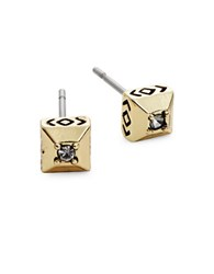 House Of Harlow Lyra Crystal Accented Pyramid Stud Earrings Gold