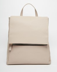 Asos Zip Front Square Backpack Grey