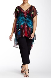 City Chic Mirrored Butterfly Print Blouse Plus Size Black