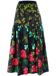 I'm Isola Marras Floral Print Midi Skirt Black
