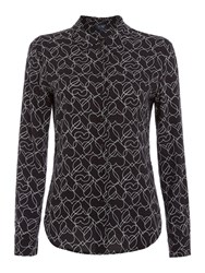Armani Jeans Long Sleeve All Over Print Blouse Black
