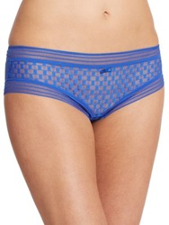 Huit Checkered Tulle Hipster Brief Prus Blue