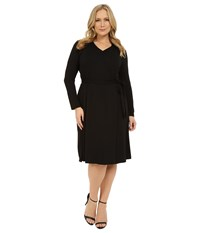 Vince Camuto Plus Size 3 4 Sleeve Faux Wrap Dress Rich Black Women's Dress