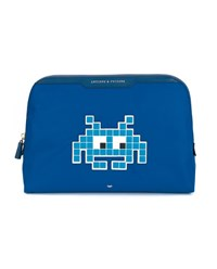 Anya Hindmarch Robot Embellished Nylon Pouch Blue White Multi Coloured