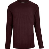 River Island Mens Dark Red Ribbed Slim Fit Long Sleeve T Shirt
