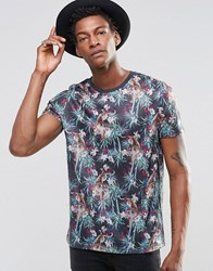 Asos T Shirt With Tiger And Jungle Print On Linen Look Fabric Multi
